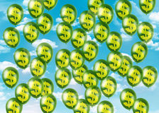 Dollar balloons flying away up to the sky Royalty Free Stock Image