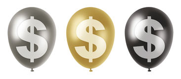 Dollar balloons set. Set of three balloons of silver, gold and black colors with a us dollar currency symbol on them Vector Illustration