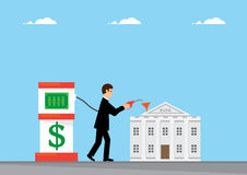 Dollar Bank. A business man topping up the a Bank using a pump to pump in Dollars Stock Images