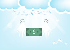 Dollar Bank Feathers from the sky.,Blue Valentine's Day backgrou Royalty Free Stock Image