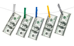 Dollar bank note hang on thread. Isolated on white background Stock Photo