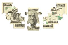 Dollar bank note money puzzle Royalty Free Stock Photography