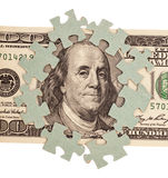 Dollar bank note money with puzzle Stock Image