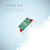 Dollar Bank rocket flying with wings Stock Image
