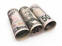 50 dollar bankbiljetten het rollen stock illustratie