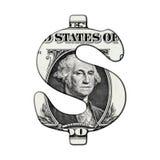 Dollar-Banknote auf Dollar-Symbol Stockbild