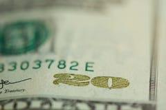 20 dollar banknote bill. Macro close up view royalty free stock image