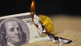 Dollar banknote burns shows model made as currency