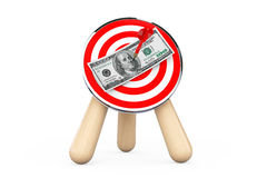 Dollar Banknote in Center of Archery Target Stock Photography