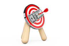 Dollar Banknote in Center of Archery Target Stock Photo
