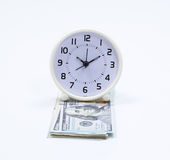 Dollar banknote and clock Royalty Free Stock Photography