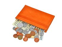 Dollar banknote and coin in wallet Royalty Free Stock Photos