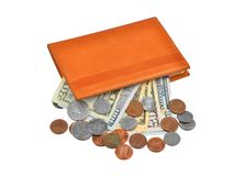 Dollar banknote and coin in wallet Stock Photo