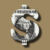 Dollar Banknote on Dollar Symbol Royalty Free Stock Photo