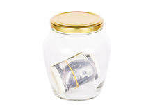 Dollar banknote in glass jar Stock Image
