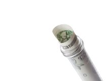Dollar banknote in graduated test tube, the cost of medical health Royalty Free Stock Images