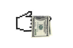 Dollar Banknote on Hand Cursor Stock Photo
