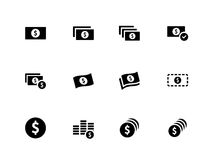 Dollar Banknote icons on white background. Royalty Free Stock Photo