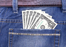 Dollar banknote in pocket. Of jeans Royalty Free Stock Photos