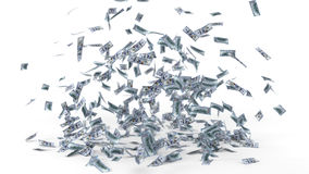 Dollar banknote rain. 3d illustration. Stock Images