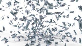 Dollar banknote rain. 3d illustration. Isolated on white Stock Image