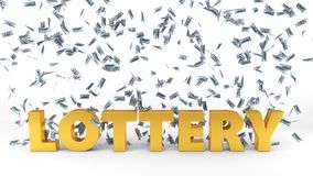 Dollar banknote rain over lottery text. 3d illustration. Stock Photo