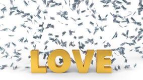 Dollar banknote rain over love text. 3d illustration. Stock Photos
