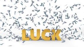 Dollar banknote rain over luck text. 3d illustration. Isolated on white stock illustration