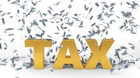 Dollar banknote rain over tax text. 3d illustration. Stock Photo