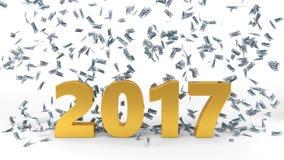 Dollar banknote rain over 2017 text. 3d illustration. Isolated on white vector illustration