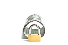 Dollar banknote rolled with lock security Royalty Free Stock Photography