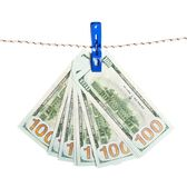 Dollar banknote on rope Royalty Free Stock Image