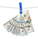Dollar banknote on rope Royalty Free Stock Photography