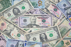 Dollar banknote spreaded on the ground. Cash, banknotes close up. Horizontal image. u.s currency. finance and business concept. U.S.A`s economy Stock Images