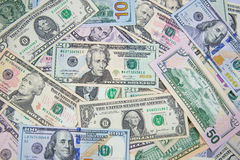 Dollar banknote spreaded on the ground. Cash, banknotes close up. Horizontal image. u.s currency. finance and business concept. U.S.A`s economy Stock Photography