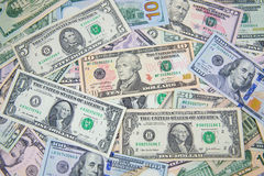 Dollar banknote spreaded on the ground. Cash, banknotes close up. Horizontal image. u.s currency. finance and business concept. U.S.A`s economy Stock Photos