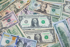 Dollar banknote spreaded on the ground. Cash, banknotes close up. Horizontal image. u.s currency. finance and business concept. U.S.A`s economy stock image