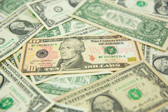 Dollar banknote spreaded on the ground. Cash, banknotes close up. Horizontal image. u.s currency. finance and business concept. U.S.A`s economy royalty free stock images