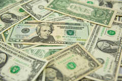 Dollar banknote spreaded on the ground. Cash, banknotes close up. Horizontal image. u.s currency. finance and business concept. U.S.A`s economy royalty free stock photo