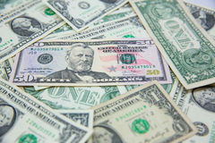 Dollar banknote spreaded on the ground. Royalty Free Stock Image