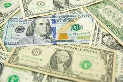 Dollar banknote spreaded on the ground. Cash, banknotes close up. Horizontal image. u.s currency. finance and business concept. U.S.A`s economy Stock Photo