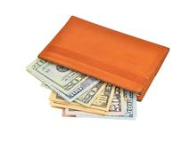 Dollar banknote in wallet Stock Photography