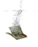 Dollar banknote in water and bubbles Royalty Free Stock Image