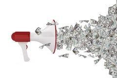 Dollar-Banknoten aus Megaphon heraus Lizenzfreie Stockfotografie