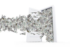 Dollar-Banknoten in der weißen Tür Stockbild