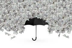Dollar-Banknoten, die auf Regenschirm fliegen und regnen lizenzfreies stockfoto
