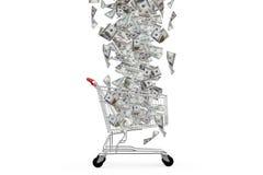 Dollar-Banknoten, die unten zum Warenkorb fallen Stockbilder