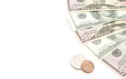 Dollar Banknoten und Münzen Stockfoto