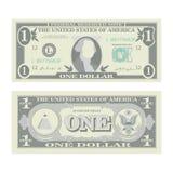 1 Dollar-Banknoten-Vektor Karikatur US-Währung Zwei Seiten von einem amerikanischen Geld Bill Isolated Illustration Bargeld-Symbo stock abbildung