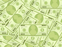 Dollar banknotes background. Background from a one hundred dollar banknotes Stock Image